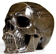 "HUGE 5.0"" Coffee Stone Carved Crystal Skull, Super Realistic"