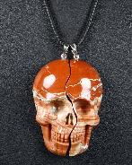 Red Jasper Carved Crystal Skull Lover Pendants with Sterling Silver
