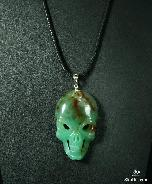 Gemstone Chrysoprase Carved Crystal Skull Pendant with Sterling Silver