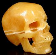 "Great Quality Huge 7.2"" Beeswax Jade Carved Crystal Skull, Super Realistic"