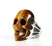 Gemstone Size 10, Gold Tiger Eye Carved Crystal Skull Ring with Sterling Silver