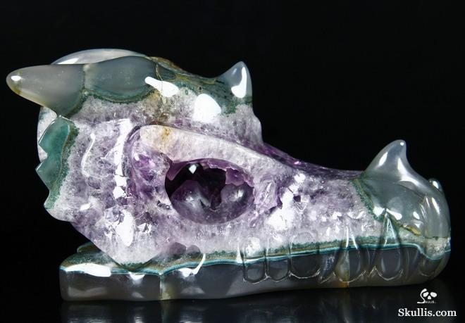 Agate Crystal Dragon Skull