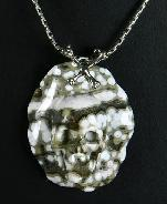 Ocean Jasper Carved Crystal Skull Pendant with Sterling Silver