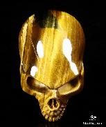Gem Quality Amazing Flash Gold Tiger Eye Carved Crystal Skull Pendant with Sterling Silver