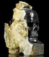 "HUGE 4.6"" Valentinite Carved Crystal Skull Mineral Specimen"