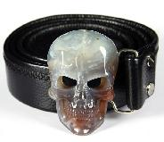 Fine Gemstone Mozambique Agate Carved Crystal Skull Belt with Sterling Silver #4702050