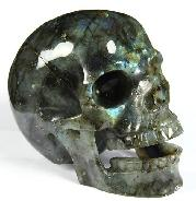 "HUGE 5.0"" Labradorite Carved Crystal Singing Skull"