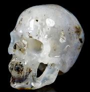 "Cute 3.8"" Agate Carved Crystal Skull, Super Realistic"