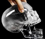 "Lifesized 7.8"" Quartz Rock Crystal Carved Mitchell-Hedges Crystal Skull Replica, Skull of Doom"