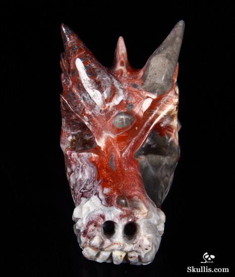 Crazy Lace Agate Crystal Dragon Skull