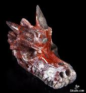 "2.0"" Crazy Lace Agate Carved Crystal Dragon Skull"