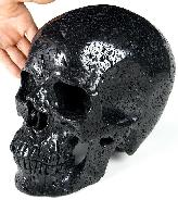 "Titain 10.2"" Hot Lava Stone Carved Crystal Skull, Super Realistic"