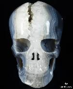 "Unique Lifesized 7.0"" Geode Agate Carved Crystal Skull"