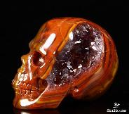 "Amethyst Geode Nice 1.5"" Empire Red Agate Carved Crystal Skull, Realistic"
