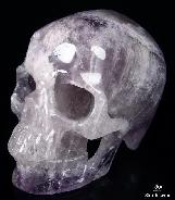 "Huge 5.3"" Amethyst Carved Crystal Skull, Super Realistic"