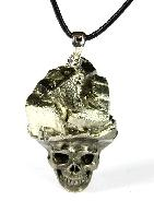Nice Pyrite Druse Carved Crystal Skull Pendant with Sterling Silver