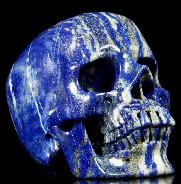 "Gemstone Huge 5.0"" Lapis Lazuli Carved Crystal Skull, Super Realistic"