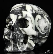 "Huge 4.9"" Rare Fossil Carved Crystal Skull, Super Realistic"