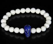 Tridacna Gigas Beads Stretch Bracelet with Stunning Hand-Carved Lapis Lazuli Skull