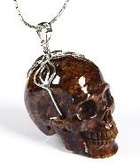 Gemstone Pietersite Carved Crystal Skull Pendant with Sterling Silver