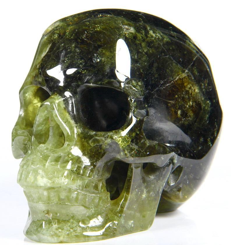 Amazing gemstone quot green garnet carved crystal skull