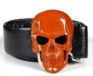 Gemstone Red Jasper Carved Crystal Skull Belt with Sterling Silver