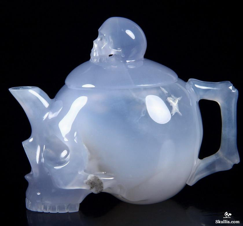 Blue Chalcedony Crystal Skull Pot Sculpture