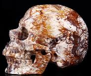 "Huge 5.1"" Red Crazy Lace Agate Carved Crystal Skull, Super Realistic"