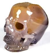 "Unique 3.2"" Agate Geode Carved Crystal Skull, Super Realistic"
