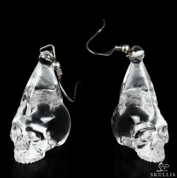 Quartz Rock Crystal Crystal Skull Earrings