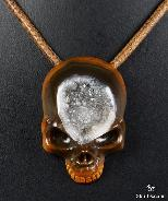 Geode Empire Red Agate Carved Crystal Skull Pendant