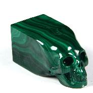 "Gemstone 1.6"" Malachite Carved Crystal Skull"