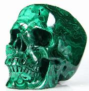 "Awesome Gemstone Huge 5.0"" Malachite Carved Crystal Skull,Super Realistic"