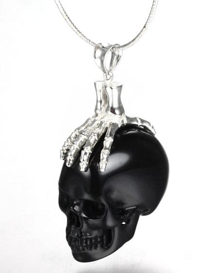 Black Obsidian Carved Crystal Skull Pendant With Sterling Silver Bones Skullis Gemstone Crystal Skulls