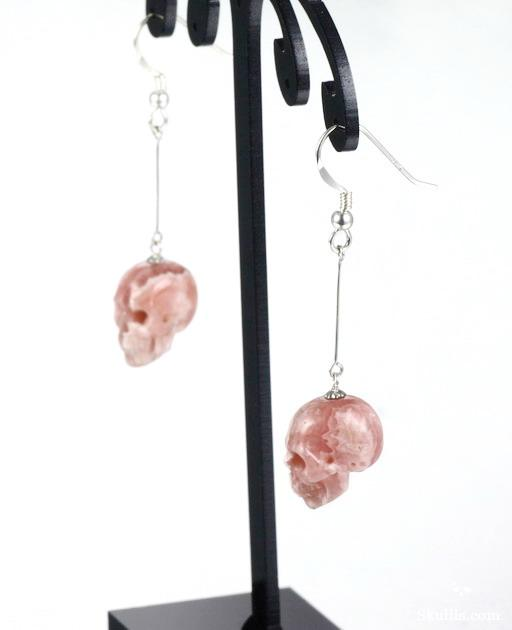Rhodochrosite Crystal Skull Earrings