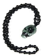 Kambaba Jasper Carved Crystal Skull Pendant with Black Obsidian Necklace