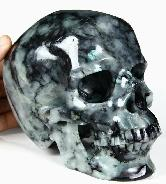 "Lifesized 6.5"" Emerald Carved Crystal Skull,Super Realistic"