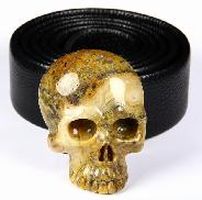 Crazy Lace Agate Carved Crystal Skull Buckle