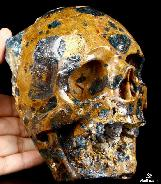"Huge 5.9"" Apatite Carved Crystal Skull"