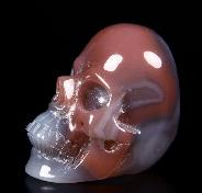 Fine Gemstone Mozambique Agate Carved Crystal Skull Ring