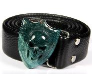 Bloodstone Carved Crystal Skull Buckle