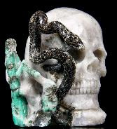 "Gemstone 3.4"" Green Emerald Carved Crystal Skull & Snake Sculpture"