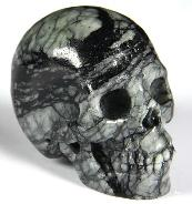 "2.0"" Black Picasso Jasper Carved Crystal Skull, Realistic"