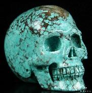 "Gemstone 1.9"" Turquoise Carved Crystal Skull, Realistic"