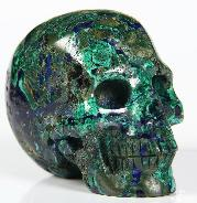 "Nice Gemstone 2.0"" Azurite & Malachit Carved Crystal Skull, Realistic"