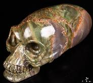 "Huge 4.6"" Morris Jasper Carved Elongated Mayan Alien Crystal Skull"