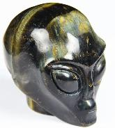 "Gemstone 2.1"" Blue & Gold Tiger Eye Carved Crystal Star Being, Female Alien Skull"