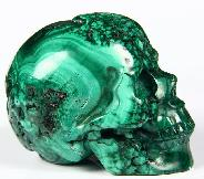 "Gemstone 2.4"" Malachite Carved Crystal Geode Skull, Realistic"