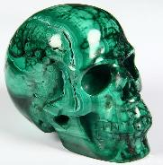 "Gemstone 2.5"" Malachite Carved Crystal Geode Skull, Realistic"