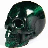 "Nice Flash Gemstone 1.9"" Malachite Carved Crystal Geode Skull, Realistic"